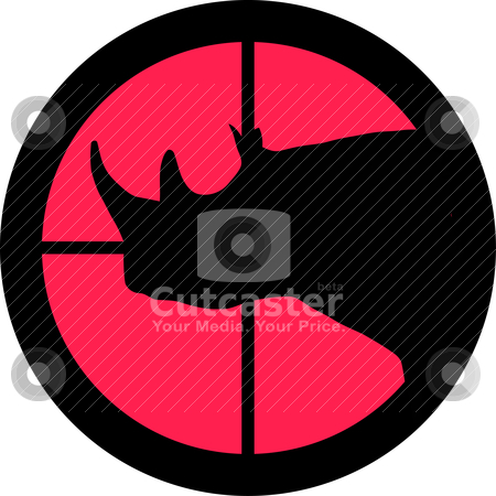 In the Scope Series - Rhinoceros stock vector clipart, In the scope series - Rhinoceros in the crosshair of a gun's telescope. Can be symbolic for need of protection, being tired of, intolerance or being under investigation. by Snap2Art