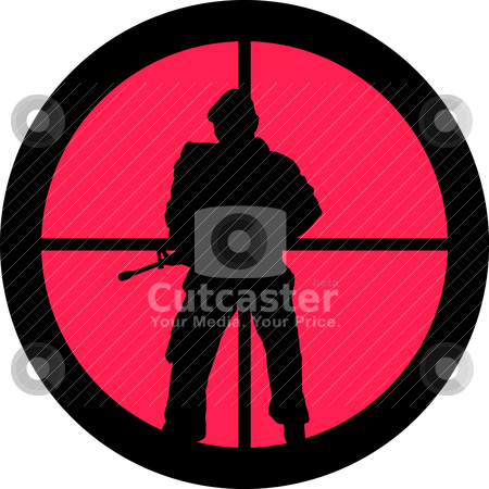In the Scope Series - Soldier stock vector clipart, In the scope series - Soldier in the crosshair of a gun's telescope. Can be symbolic for need of protection, being tired of, intolerance or being under investigation. by Snap2Art