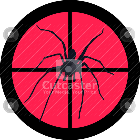 In the Scope Series - Spider stock vector clipart, In the scope series - Spider in the crosshair of a gun's telescope. Can be symbolic for need of protection, being tired of, intolerance or being under investigation. by Snap2Art