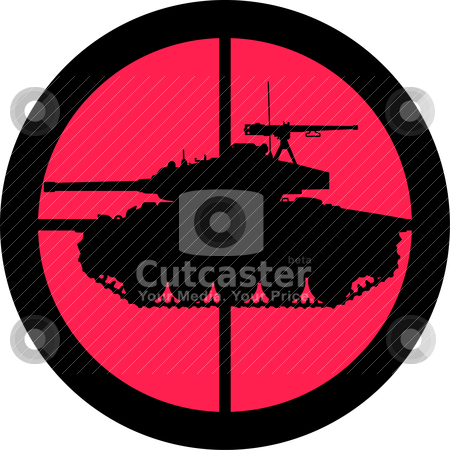 In the Scope Series - Tank stock vector clipart, In the scope series - Tank in the crosshair of a gun's telescope. Can be symbolic for need of protection, being tired of, intolerance or being under investigation. by Snap2Art