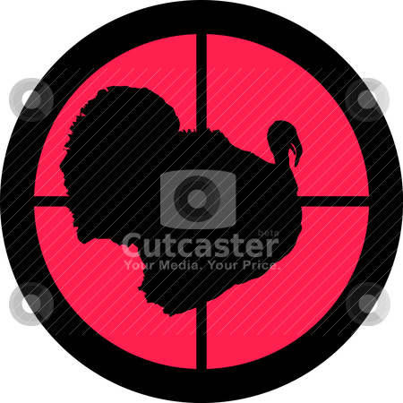 In the Scope Series - Turkey stock vector clipart, In the scope series - Turkey in the crosshair of a gun&#039;s telescope. Can be symbolic for need of protection, being tired of, intolerance or being under investigation. by Snap2Art