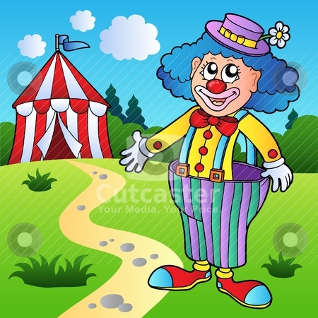 circus tent stock vector clipart, Clown in big pants with circus tent ...