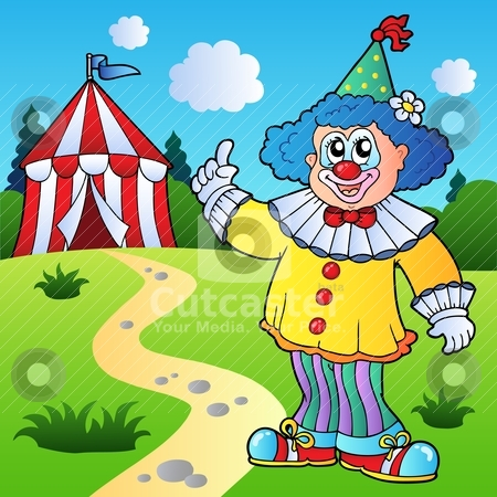 ... circus tent stock vector clipart, Funny clown with circus tent