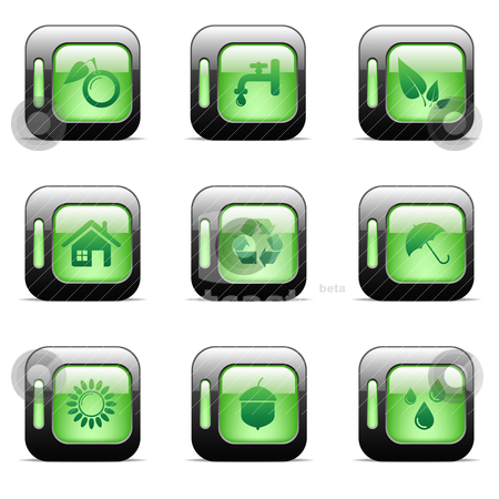 Environmental icons stock vector clipart, Environmental and recycling vector icon set by Vladimir Gladcov