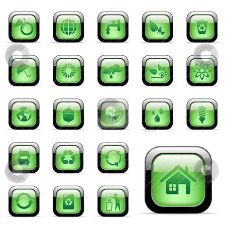 Environmental icons stock vector clipart, Vector - 23 environmental icons for web design by Vladimir Gladcov