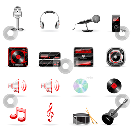 Musical icons stock vector clipart, Vector music and audio icon set isolated on white by Vladimir Gladcov