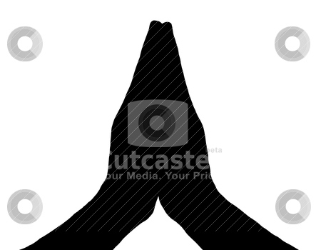 Silhouette Vector Praying Hands Front on White stock vector clipart, Silhouette Vector Praying Hands (Front View) on White by Snap2Art
