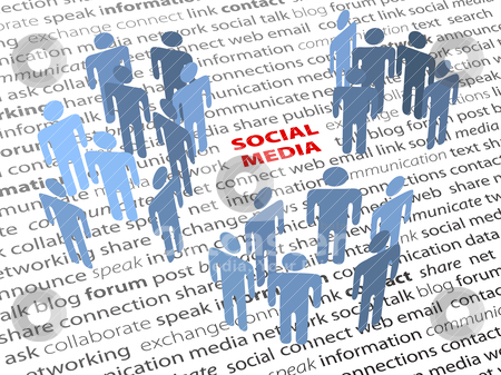 SOCIAL MEDIA words people network page text stock vector clipart, SOCIAL MEDIA people groups network on a page of text background by Michael Brown