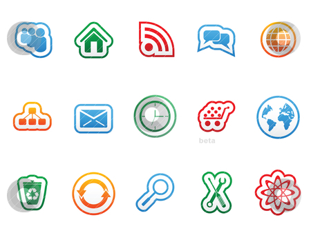 Label icons stock vector clipart, Label icon set for web design by Vladimir Gladcov