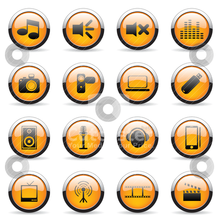 Web icons stock vector clipart, Set of web orange icons (set2) by Vladimir Gladcov