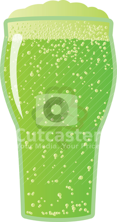 Green Beer stock vector clipart, A pint of St. Patrick&#039;s Day green beer or ale. by Jamie Slavy