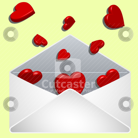 Envelope with love stock vector clipart, envelope with love, abstract vector art illustration by Laschon Robert Paul