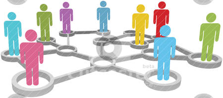 Connect diverse people business or social network stock vector clipart, Connected People collaborate in Social or Business Network Nodes by Michael Brown