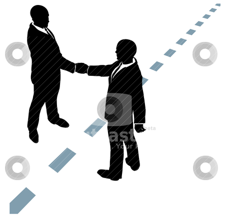 Business people shake hands agree on dotted line stock vector clipart, Business people partner handshake in collaboration agreement on dotted line by Michael Brown
