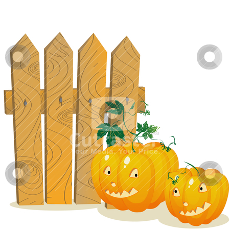 Pumpkins stock vector clipart, Two smiling pumpkins over a wooden fence. Stylized cartoon elements over white background by Richard Laschon