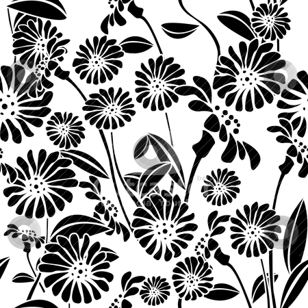 Seamless floral background, graphic pattern stock vector clipart, Decorative floral background, seamless pattern in black and white, clip art by Richard Laschon