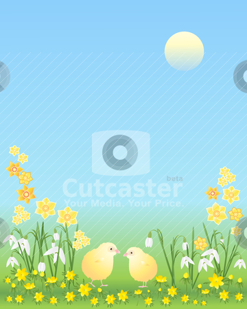 Easter chicks with flowers stock vector clipart, an illustration of two easter chicks amongst snowdrops aconites and daffodils on a blue sky background by Mike Smith