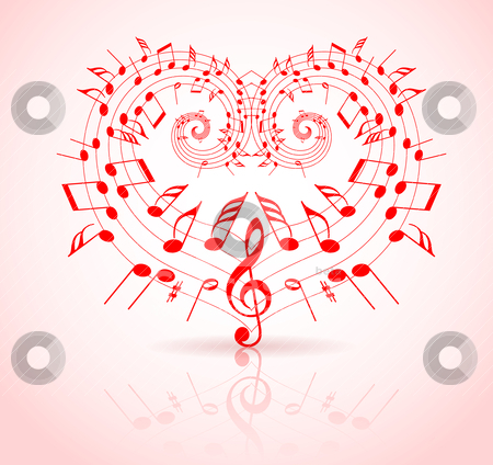 Valentine Songs on Valentines Day Music Theme Stock Vector Clipart  Valentines Day Music