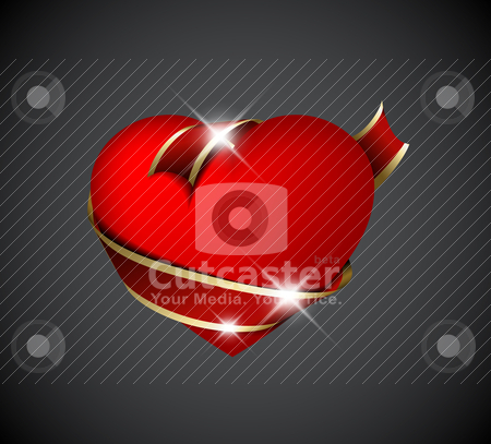 Red heart with red ribbon stock vector clipart, Red heart with red ribbon - Valentines decoration by orson