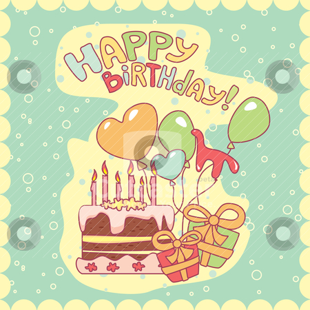 Happy birthday card stock vector clipart, happy birthday card, vector illustration by SelenaMay