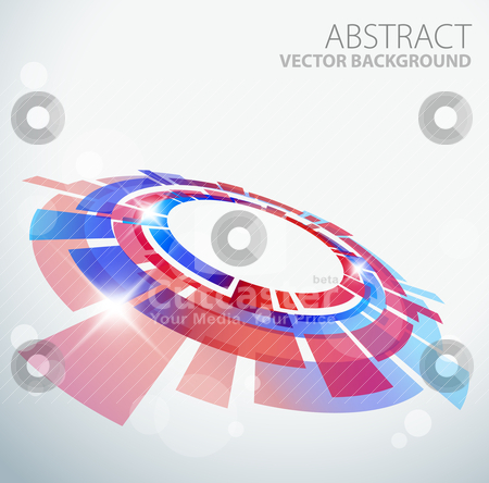 Abstract background with 3D red and blue object stock vector clipart, Abstract background with 3D red and blue object and place for your text by orson