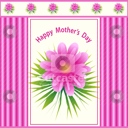 Mothers day flower design stock vector clipart, Mothers day pink flower design with a pattern background. by toots77