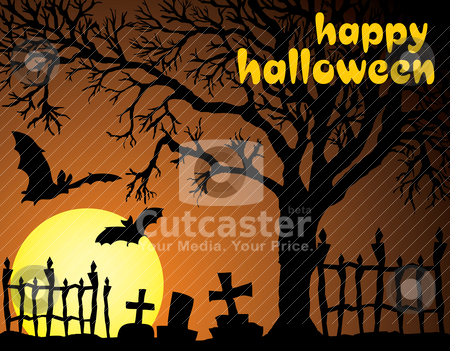 Halloween vector illustration scene stock vector clipart, Halloween vector illustration scene with moon, bat and tree. by SelenaMay