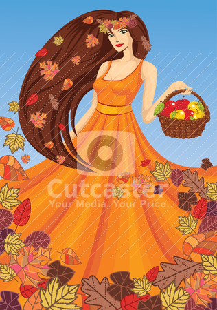 Vector lady autumn stock vector clipart, vector lady autumn with basket by SelenaMay