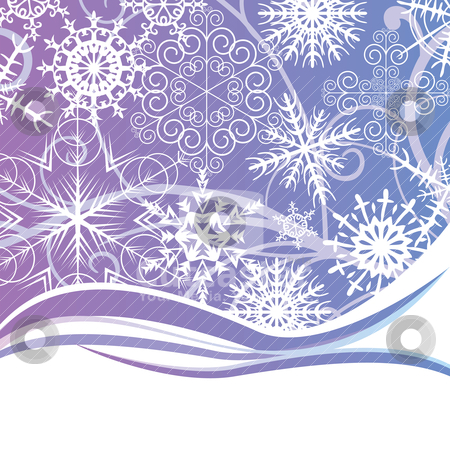 Abstract background with different snowflakes stock vector clipart, abstract background with different snowflakes and free place for text by SelenaMay