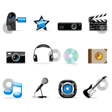 Media icons set stock vector clipart, Set of vector realistic media icons isolated on white by Vladimir Gladcov