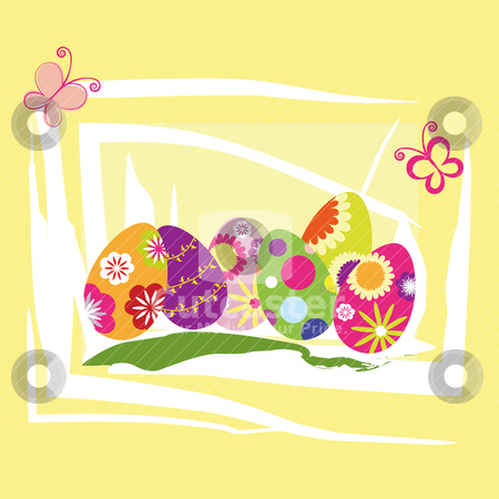 Springtime Easter holiday wallpaper stock vector clipart, Springtime Easter holiday wallpaper colorful eggs with butterfly by meikis