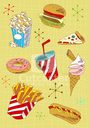 Grunge fast food icons set stock vector clipart, Cartoon style fast food icons set illustration. Vector avaliable. by Cienpies Design