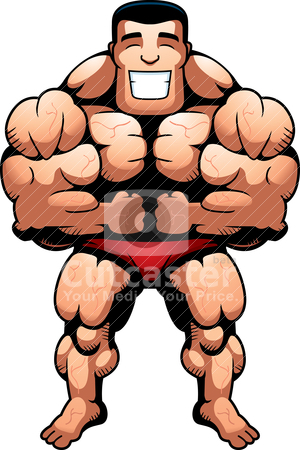 Bodybuilder Flexing stock vector clipart, A happy cartoon bodybuilder flexing and smiling. by cthoman