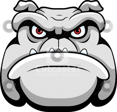 Bulldog Face stock vector clipart, A cartoon face and head of a ...