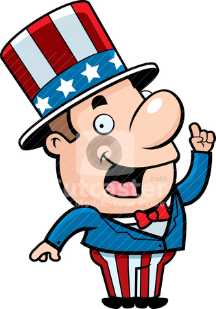 Patriotic Man stock vector clipart, A happy cartoon patriotic man with an idea. by cthoman