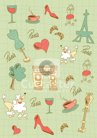 Paris icons design. stock vector clipart, Hand made Paris icons on green background. Vector avaliable. by Cienpies Design