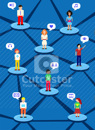 Social network concept stock vector clipart, Social media network human connection concept by Cienpies Design