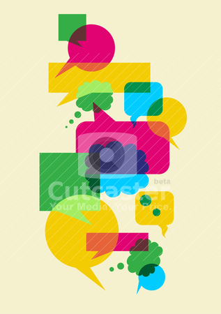 Speech social interaction bubbles stock vector clipart, Interactive multicolored bubbles in different sizes and forms illustration. Vector file available. by Cienpies Design