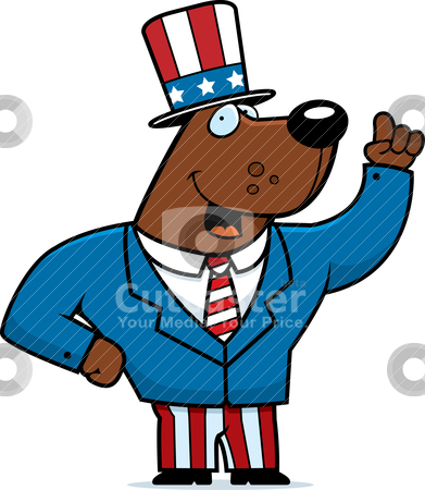 Patriotic Bear stock vector clipart, A happy cartoon bear dressed in a patriotic suit. by cthoman