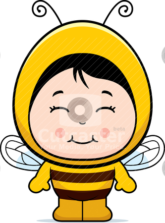 Bee Girl stock vector clipart, A happy cartoon child dressed in a bee costume. by cthoman