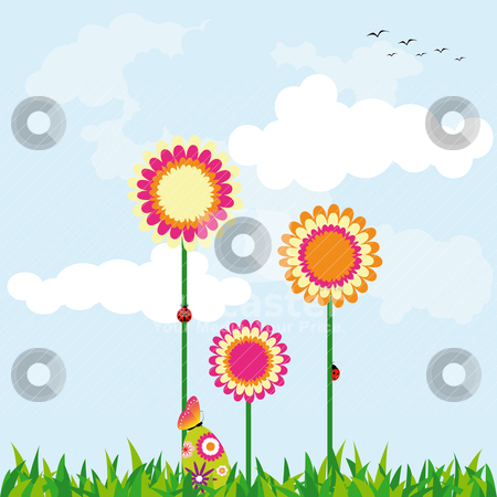 Springtime Easter holiday illustration stock vector clipart, Springtime Easter holiday illustration colorful daisy and colorful easter egg by meikis