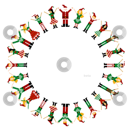 Merry Xmas happy circelebration stock vector clipart, A circle of pixeled Xmas characters celebrating Christmas.  by Cienpies Design
