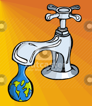 Water: limited resource stock vector clipart, Leaking faucet the earth planet shaped drop