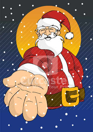 Christmas series: Happy Santa giving hand stock vector clipart, Christmas series postcard background: Cheerful Santa giving his right hand with moon in the background in a snowy sky. by Cienpies Design