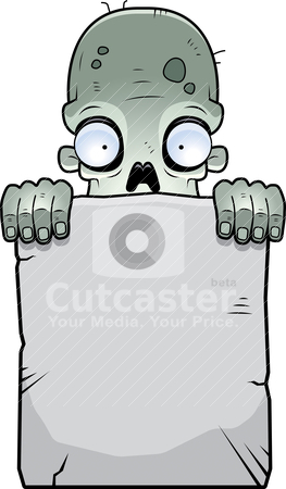 Zombie Tombstone stock vector clipart, A cartoon zombie with a stone tombstone. by cthoman
