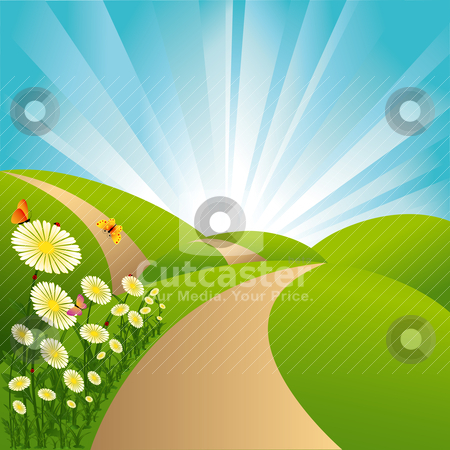 Spring landscape green fields blue sky flowers and butterflies stock vector clipart, Spring landscape green fields blue sky flowers and butterflies by meikis