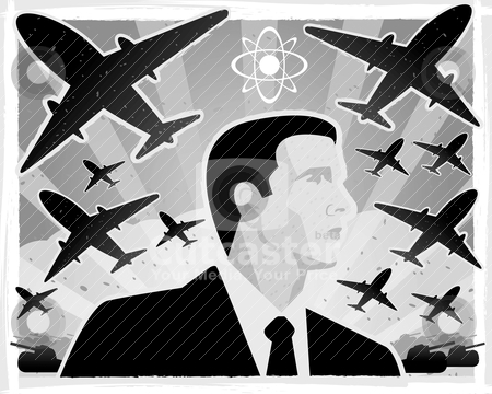 War stock vector clipart, A black and white illustration with a war theme. by cthoman