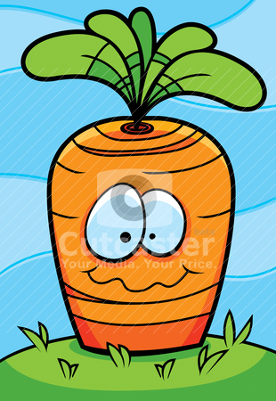 Carrot Planted stock vector clipart, A happy cartoon carrot planted in the ground. by cthoman