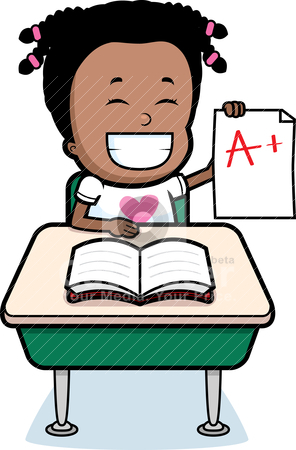 Vector clipart a happy cartoon student with good grades by cthoman