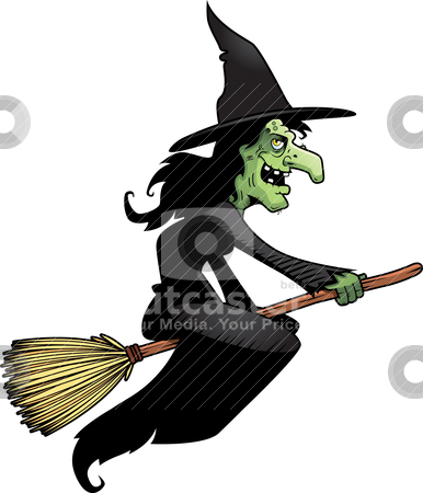 Witch Broomstick stock vector clipart, A cartoon witch flying on a broomstick. by cthoman